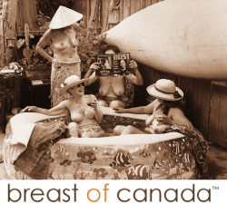breast of Canada calendar photo of women lounging in a tub outdoors